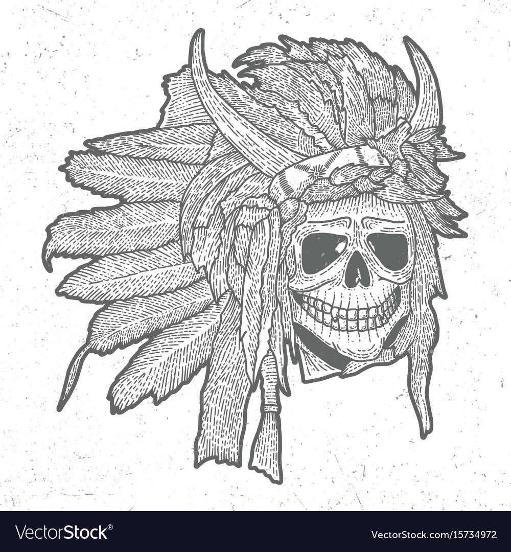 Indian skull mask poster vector image