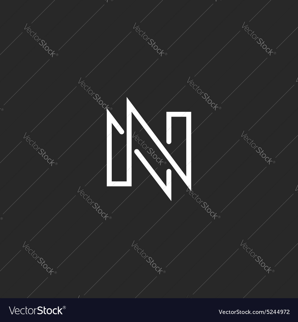 Modern Monogram Letter N Logo Black And White Vector Image
