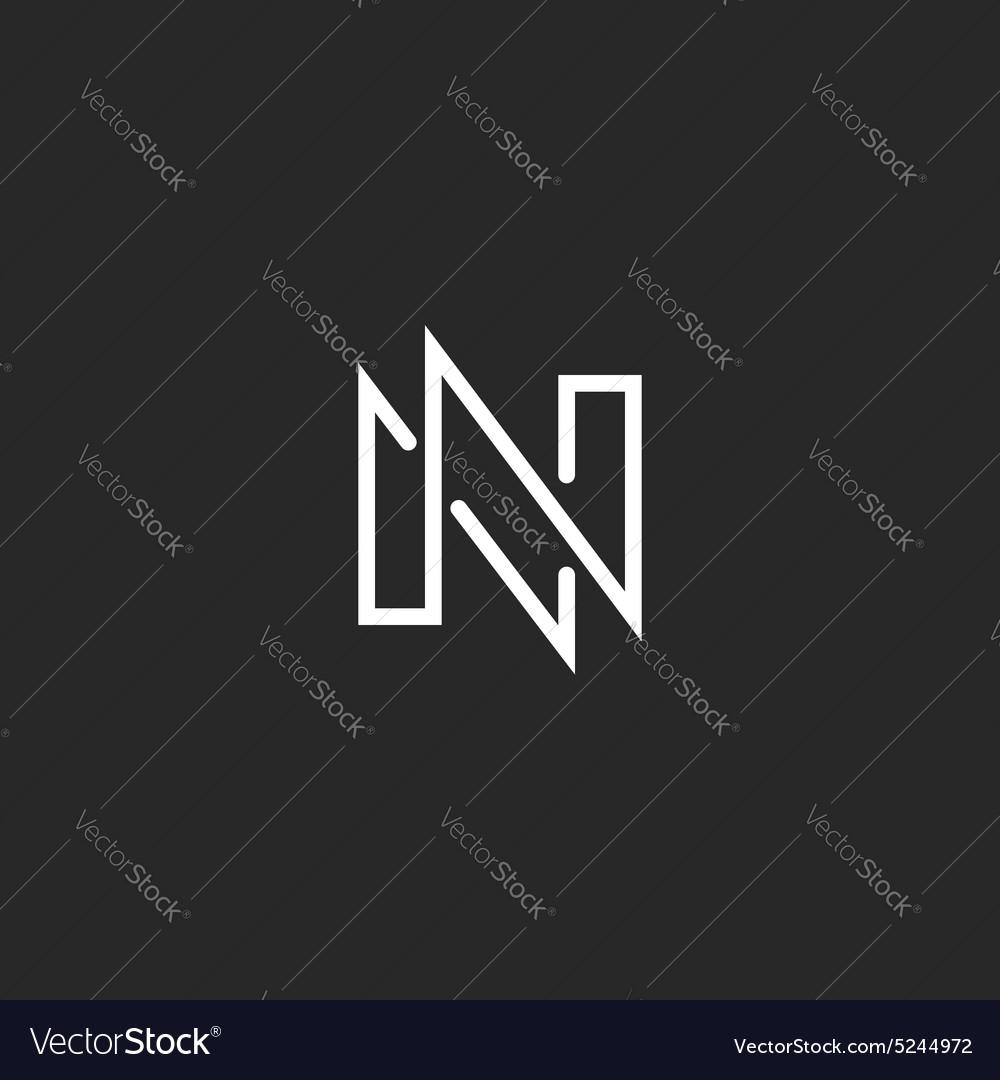 Modern Monogram Letter N Logo Black And White Vector Image
