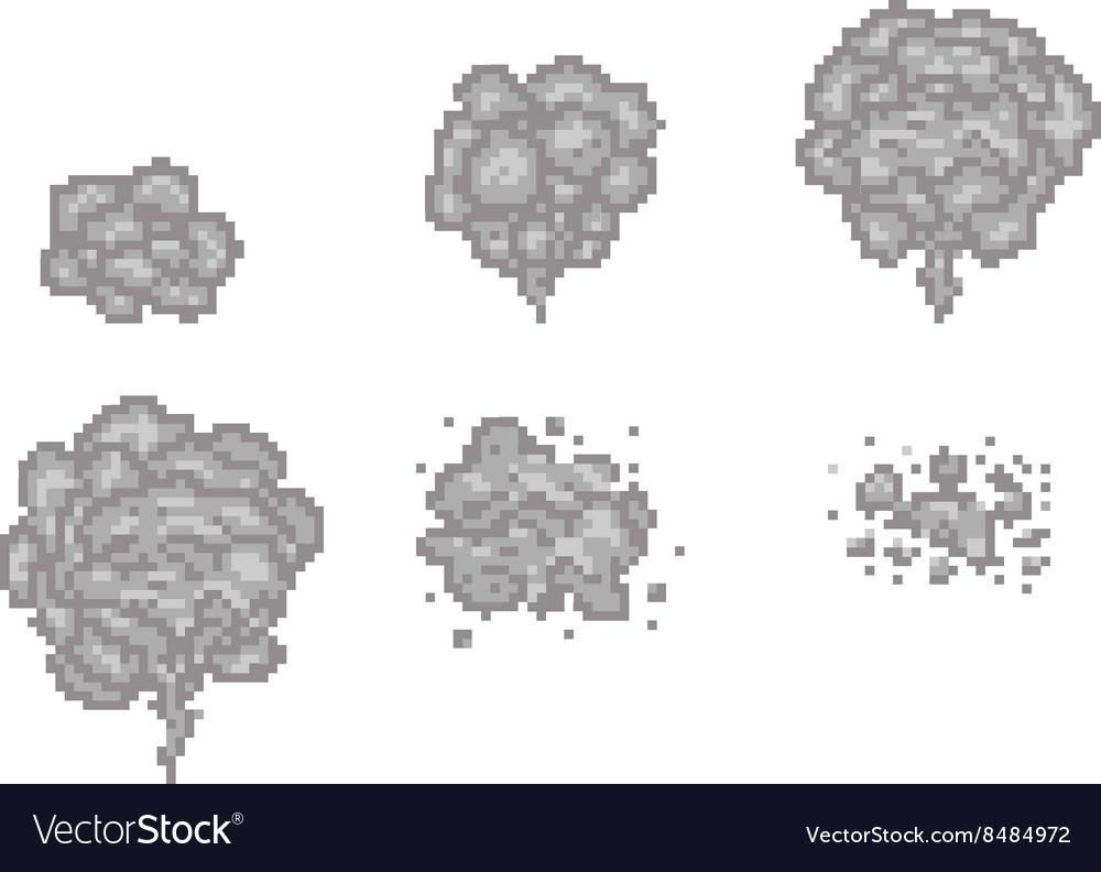 Pixel art smoke animation frames for game Vector Image