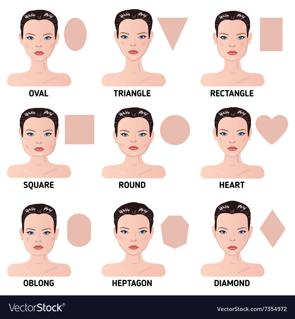 Pleasant Set Of Nine Different Womans Face Shapes Vector Image Schematic Wiring Diagrams Amerangerunnerswayorg