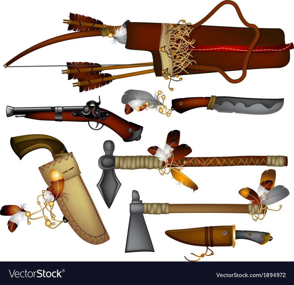 set of weapons american indian royalty free vector image