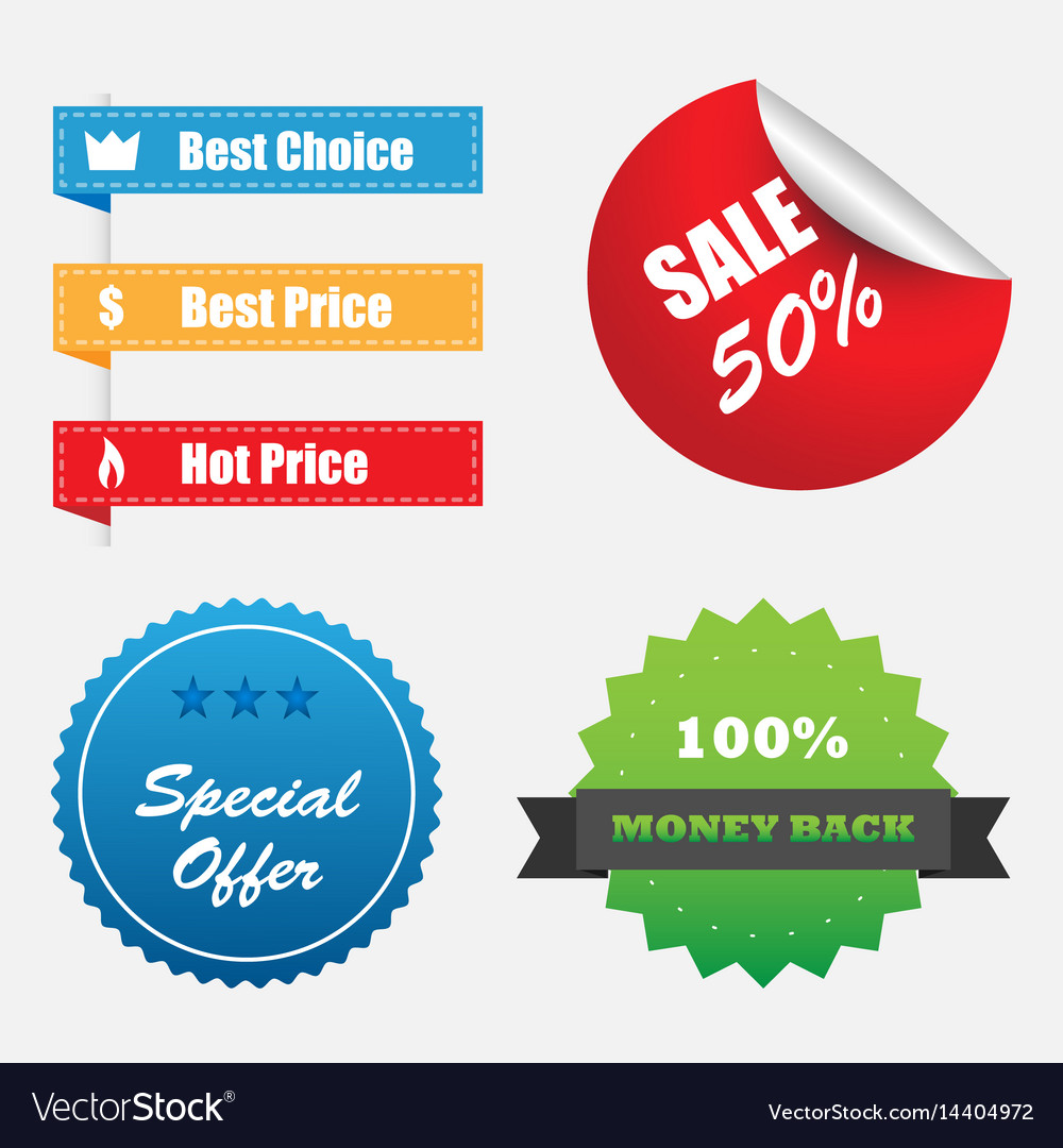 Shopping stickers labels sale icons set