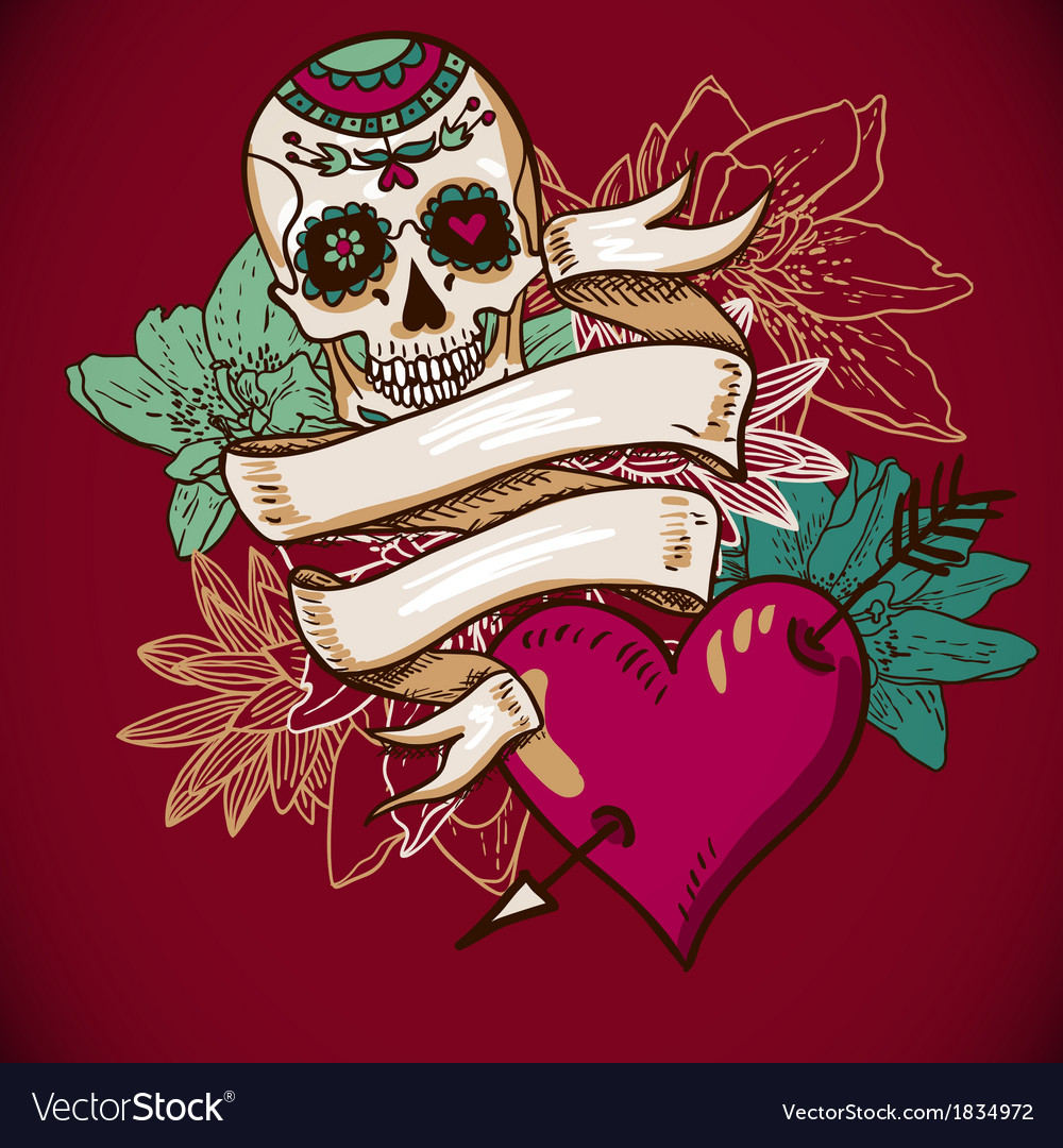 Skull Hearts and Flowers