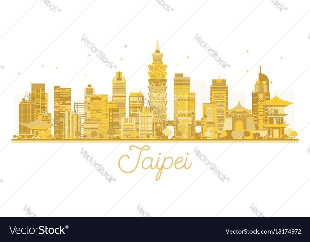 Taipei city skyline golden silhouette