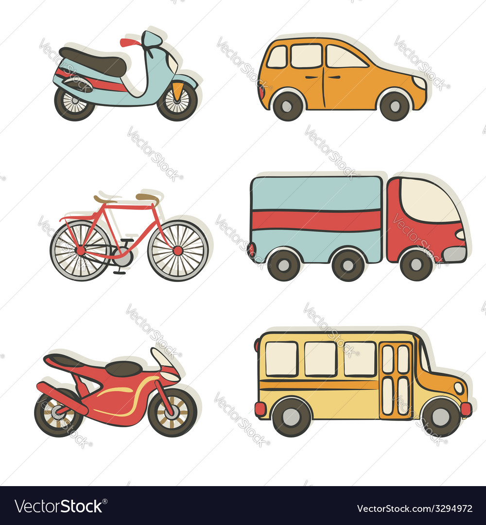 Transportation Hand Drawing Icons Royalty Free Vector Image