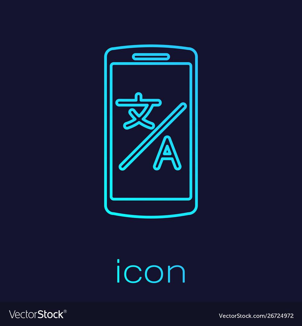 Turquoise line online translator icon isolated on