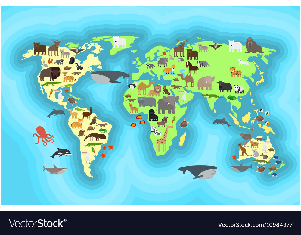 Animals world map wallpaper design royalty free vector image animals world map wallpaper design vector image gumiabroncs Gallery