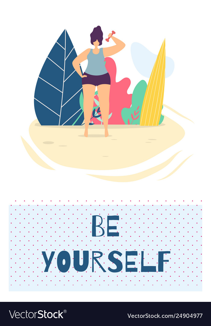 Be yourself motivation design flat card template