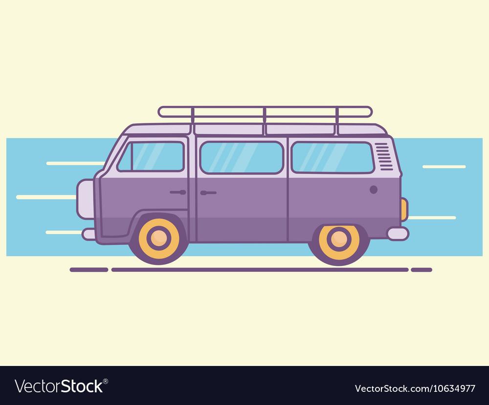 Car van line art retro vintage