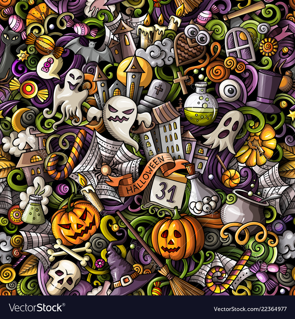 Cartoon cute doodles hand drawn halloween seamless