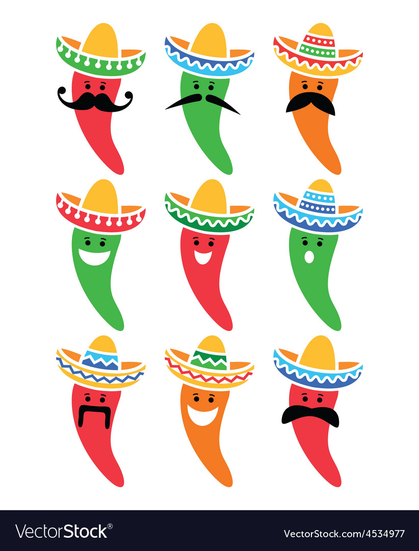 Chili pepper in Mexican Sombrero hat with mustache