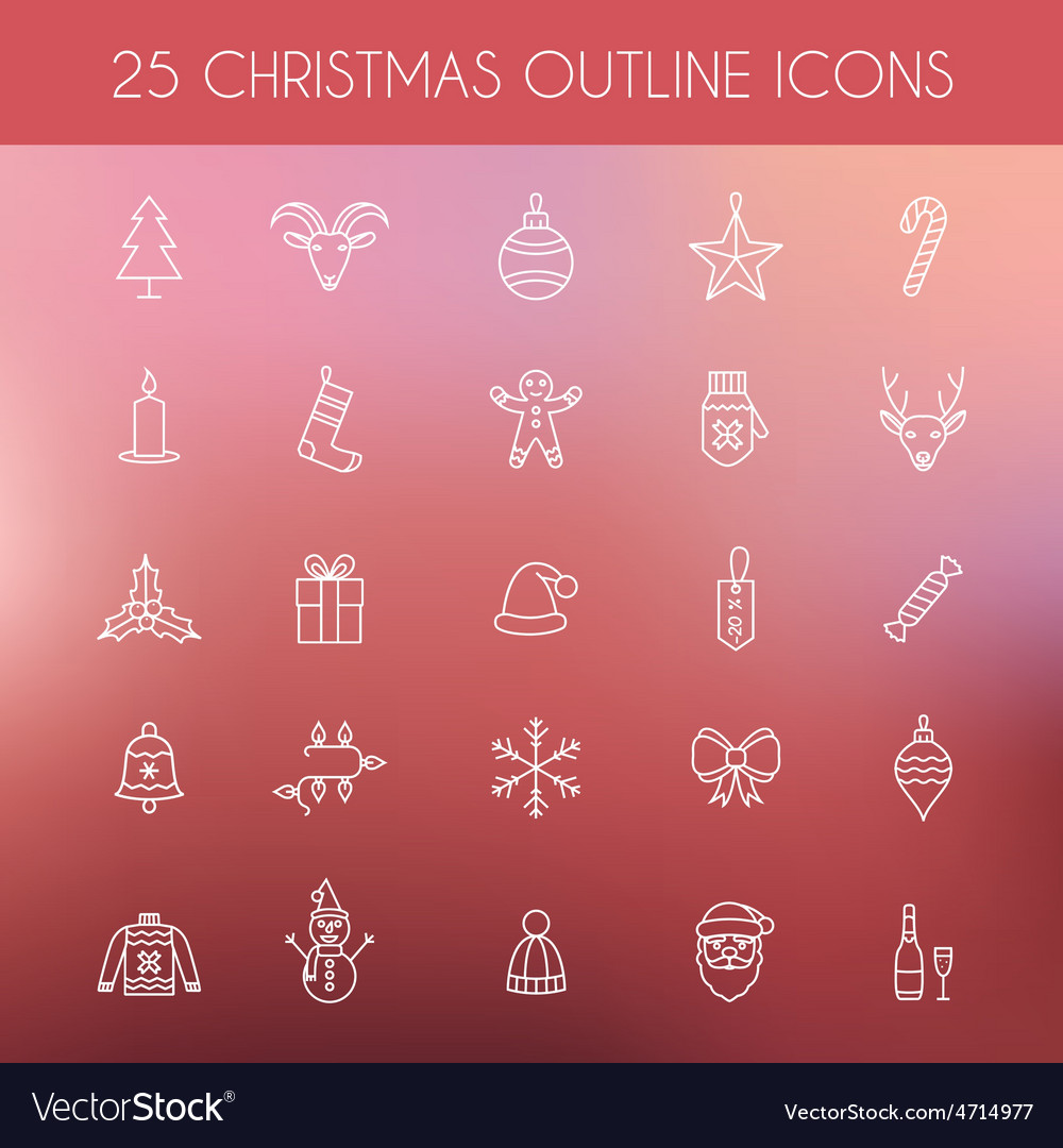 Christmas outline icons Holiday New Year icons