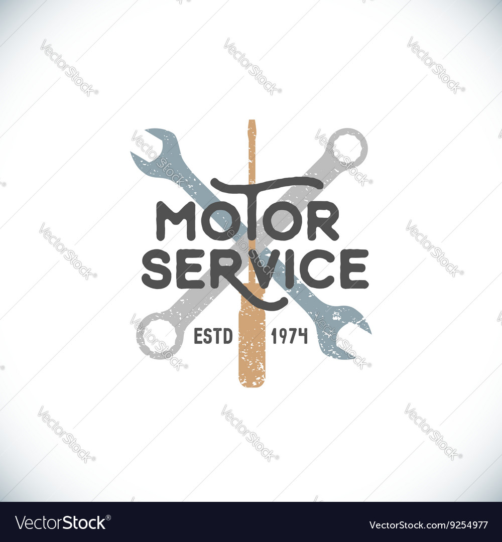 Color motor service sign template vector image