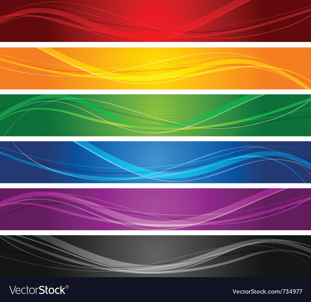 Colorful wavy line banners vector image