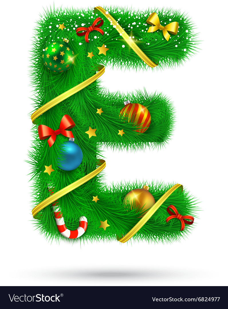 fir tree decorative letter vector image - Christmas Letter Decorations