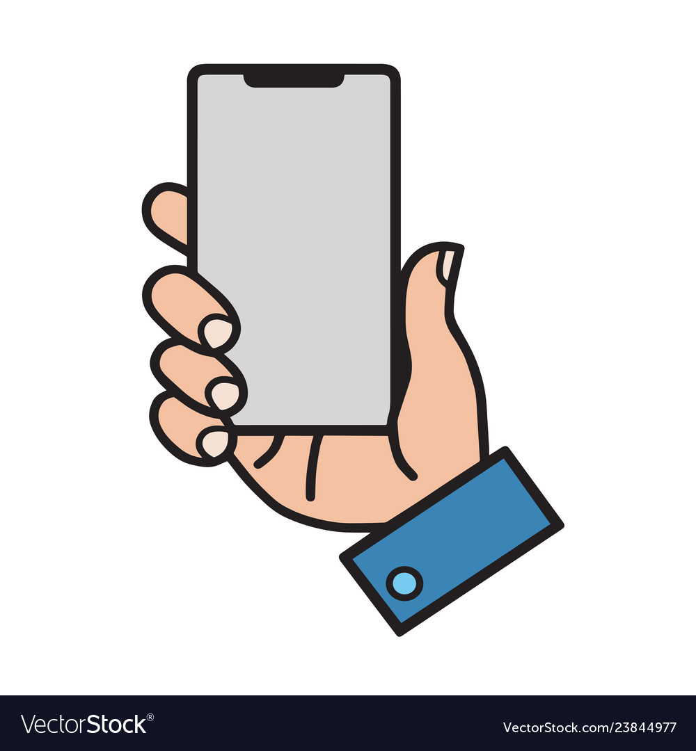 Hand holding smart mobile phone showing screen
