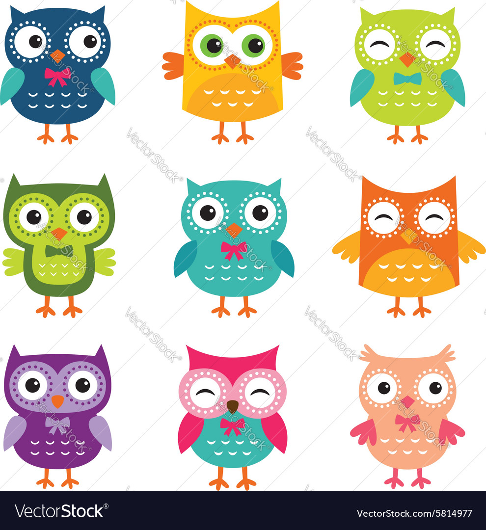 Isolated cartoon owls collection