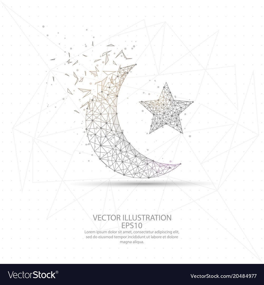 Moon and star digitally drawn low poly wire frame Vector Image