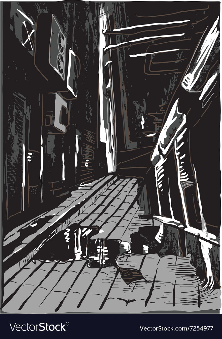 Night street freehand vector image