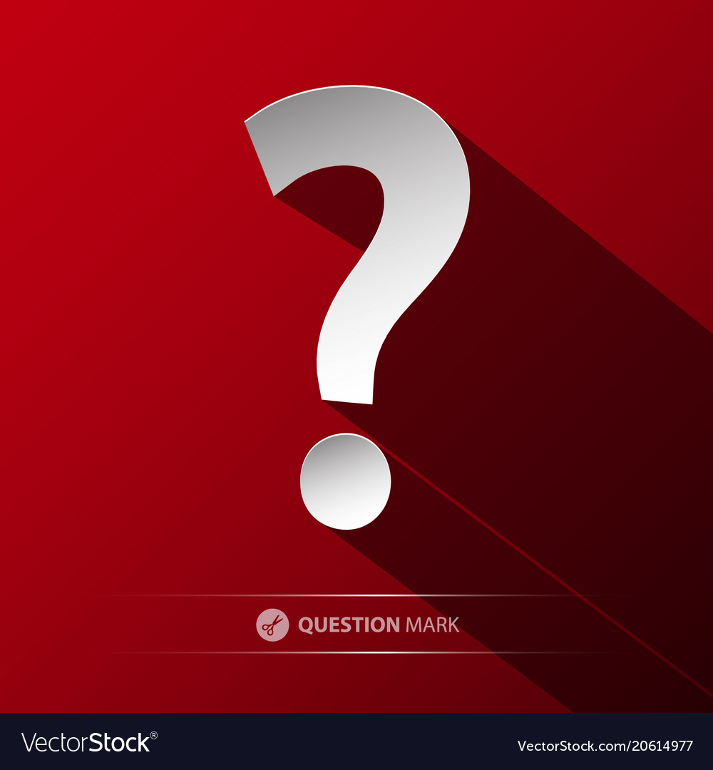 Question mark symbol paper cut icon on red
