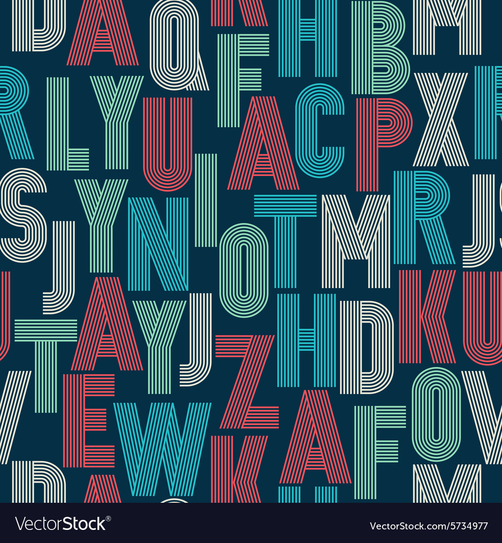 Retro stripes funky fonts seamless pattern