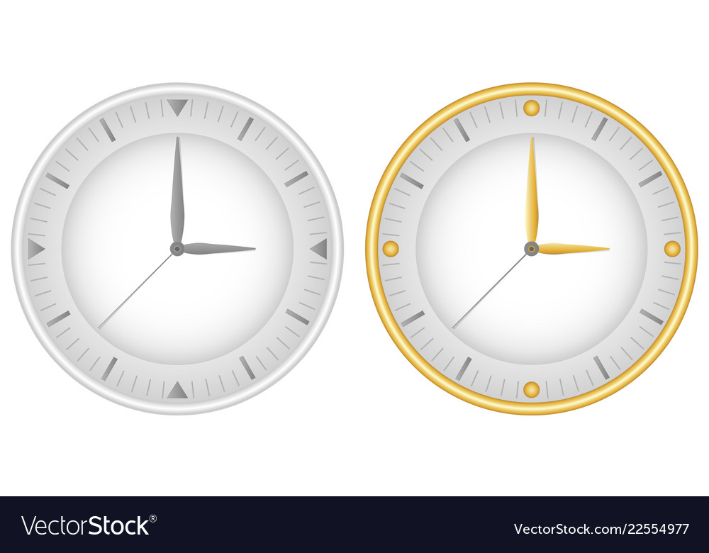 Set of two dials with gray clock hands and gold