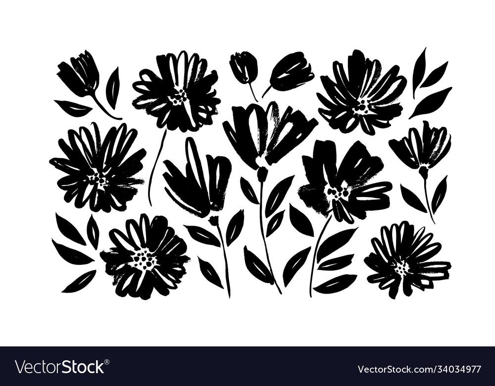 Spring flowers hand drawn set