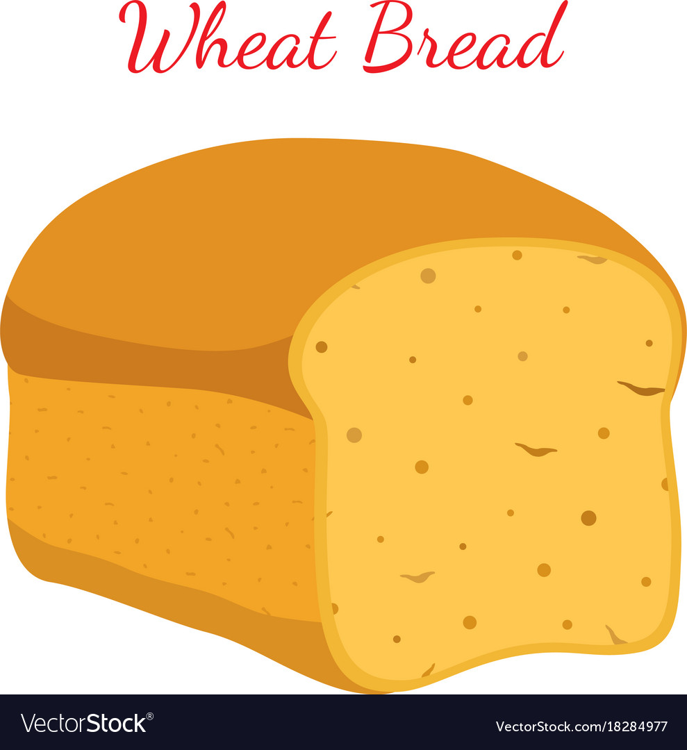 Wheat bread whole grain loafcartoon style