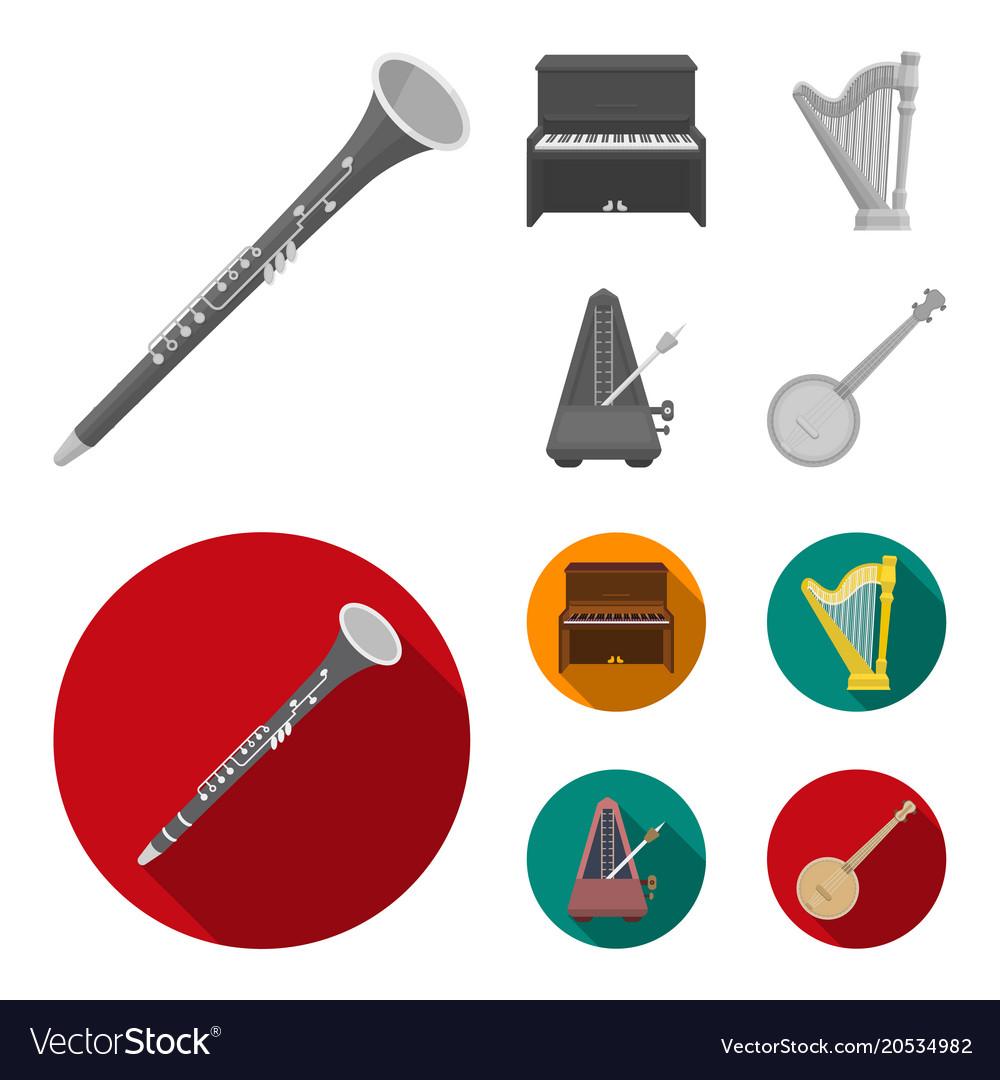 Banjo piano harp metronome musical instruments vector image on VectorStock