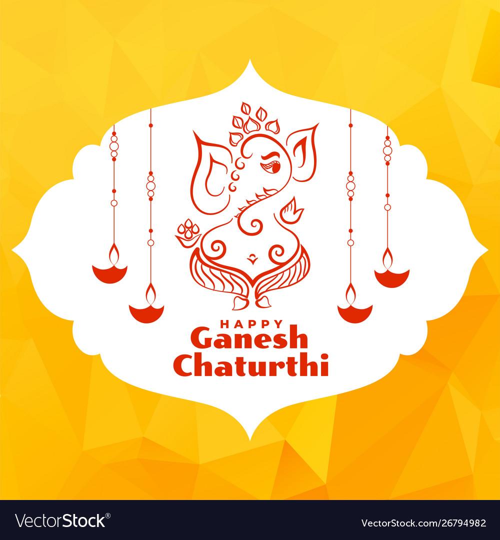 Beautiful greeting design lord ganesha festival