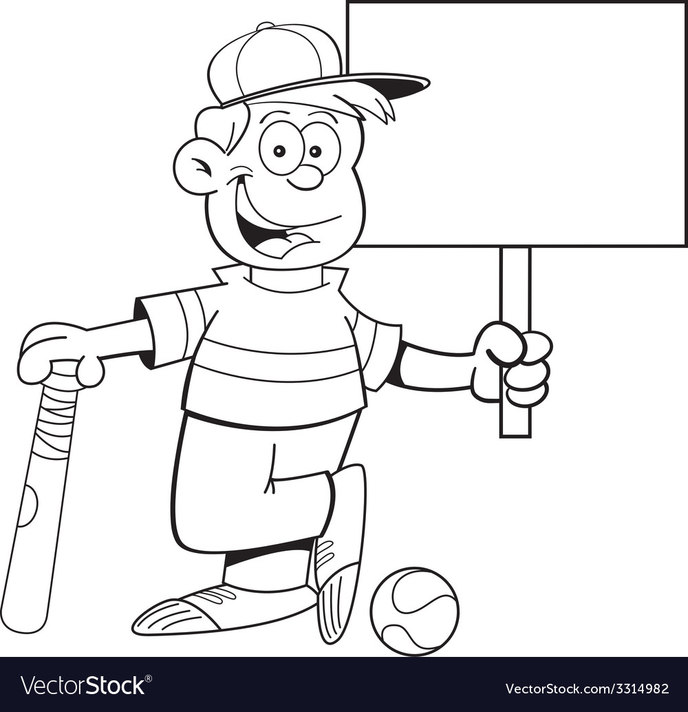 Cartoon boy leaning on a baseball bat holding a si