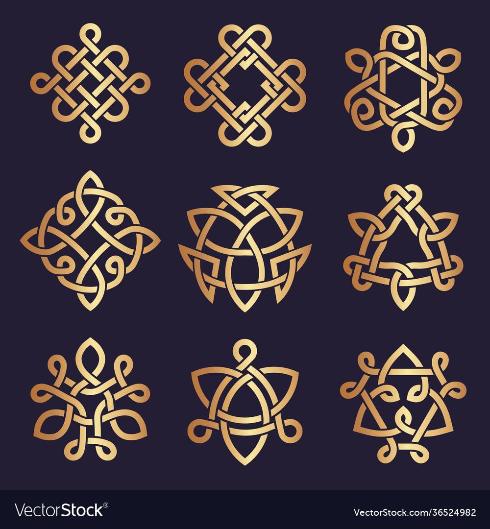 Celtic knots stylized triangle symbols ancient