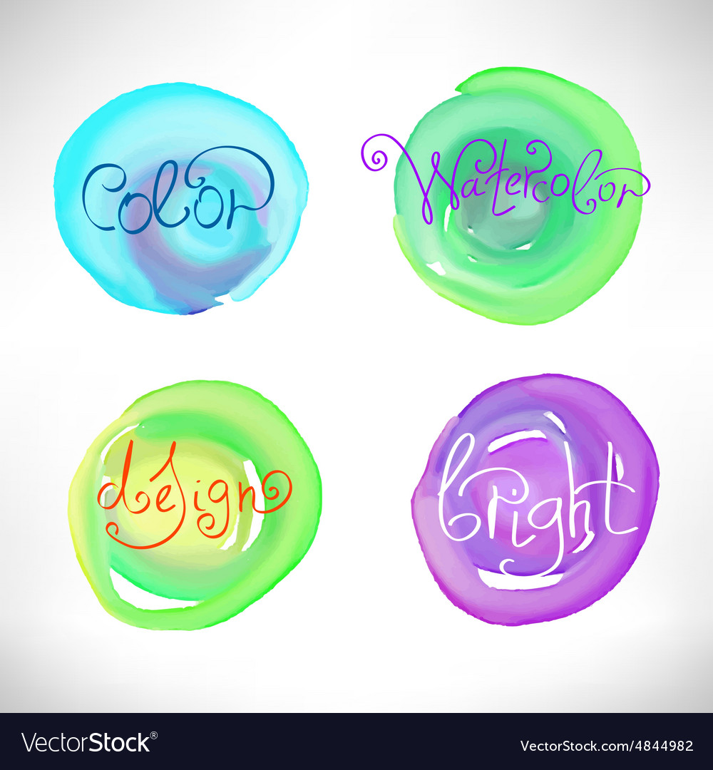 Circles abstract watercolor splash design elements