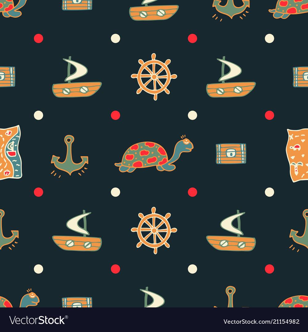Dark blue seamless pattern with turtles