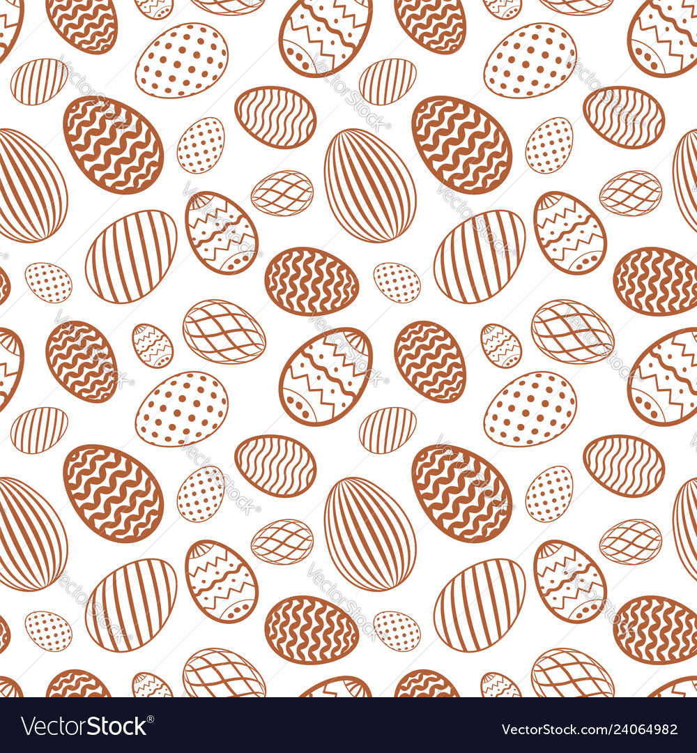 Easter egg seamless pattern chocolate brown color