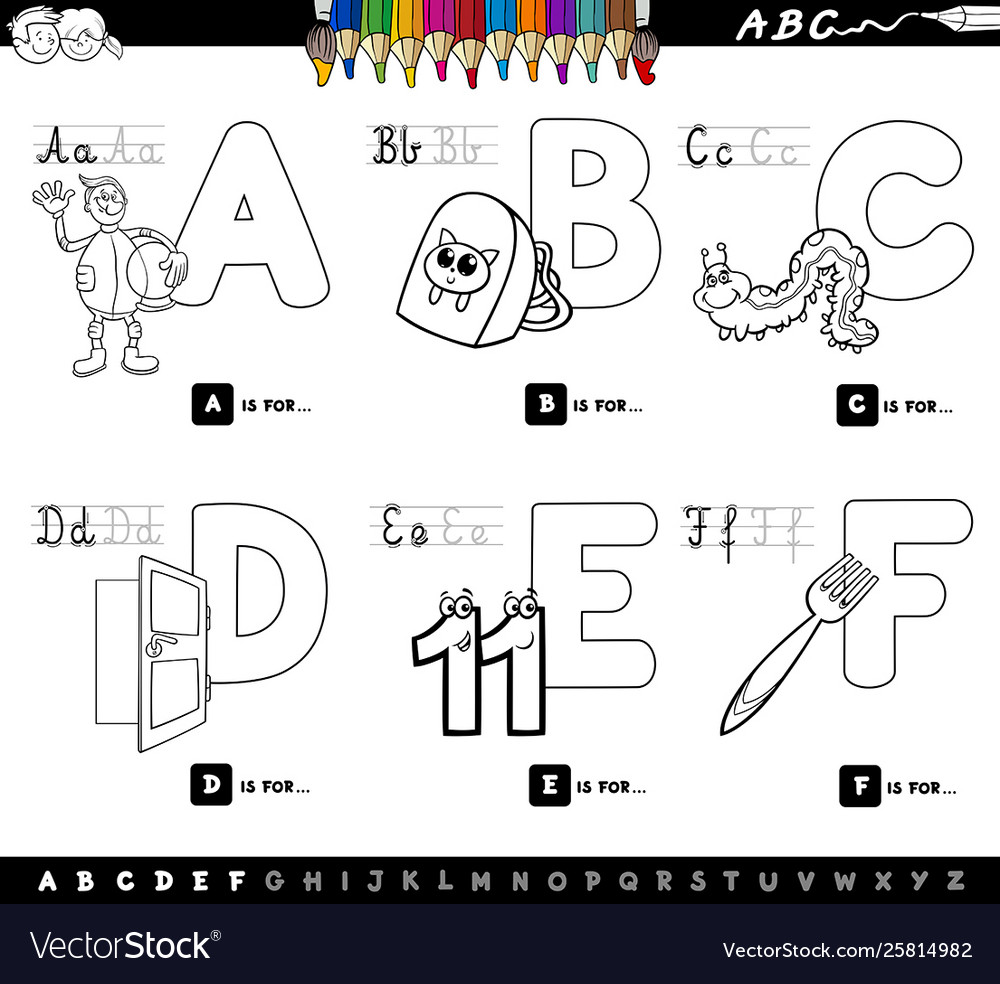 - Educational Alphabet Letters Color Book For Kids Vector Image