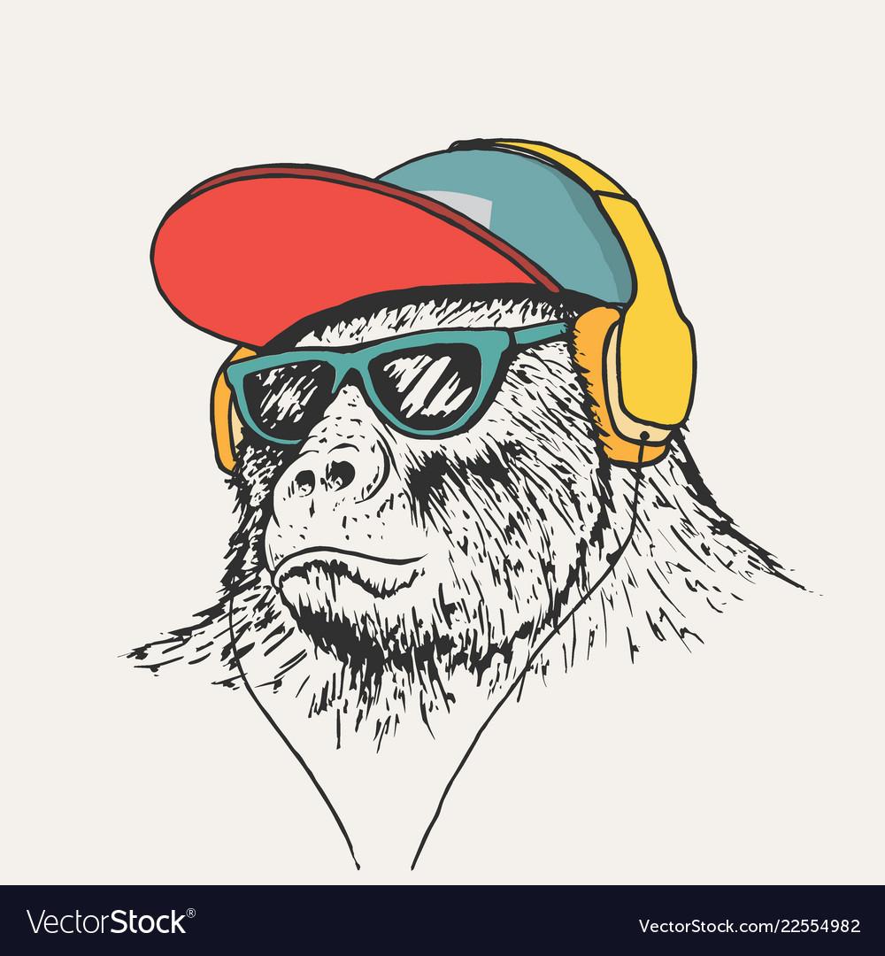 Gorilla listening music in headphones