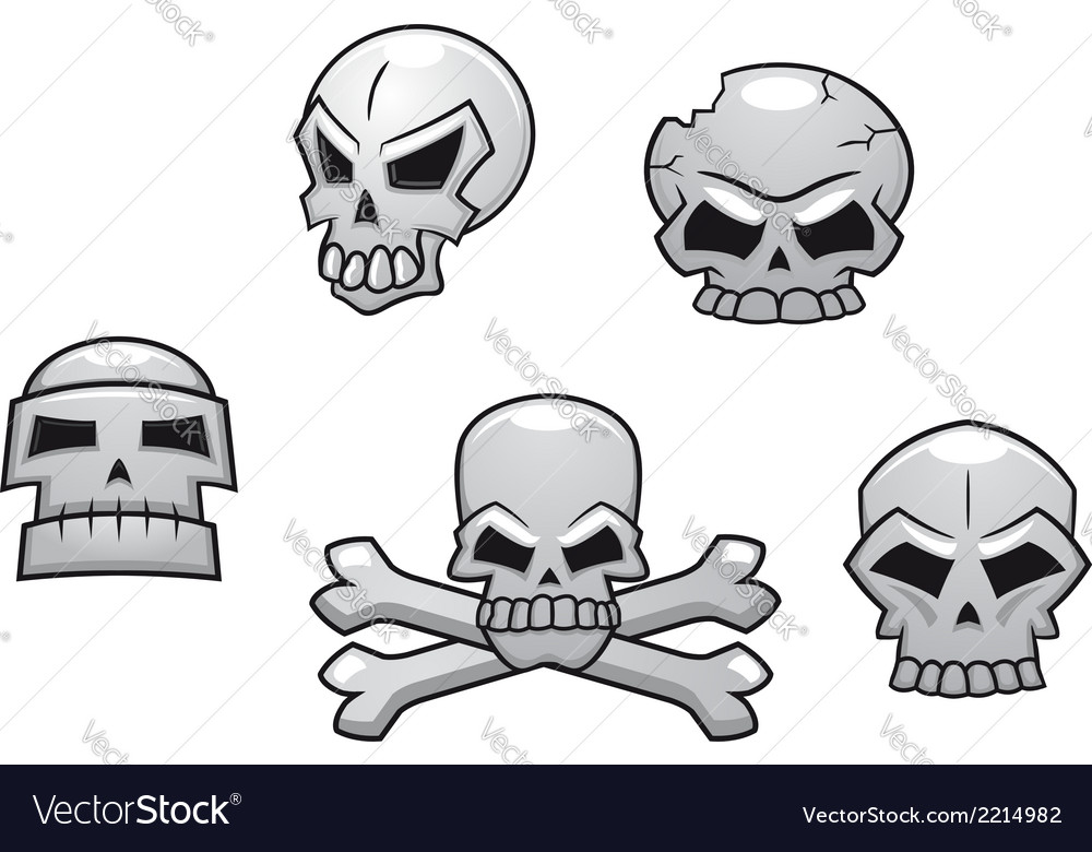 Halloween or Pirate themed skull set vector image