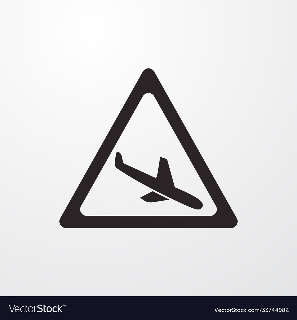Landing airplane attention sign icon