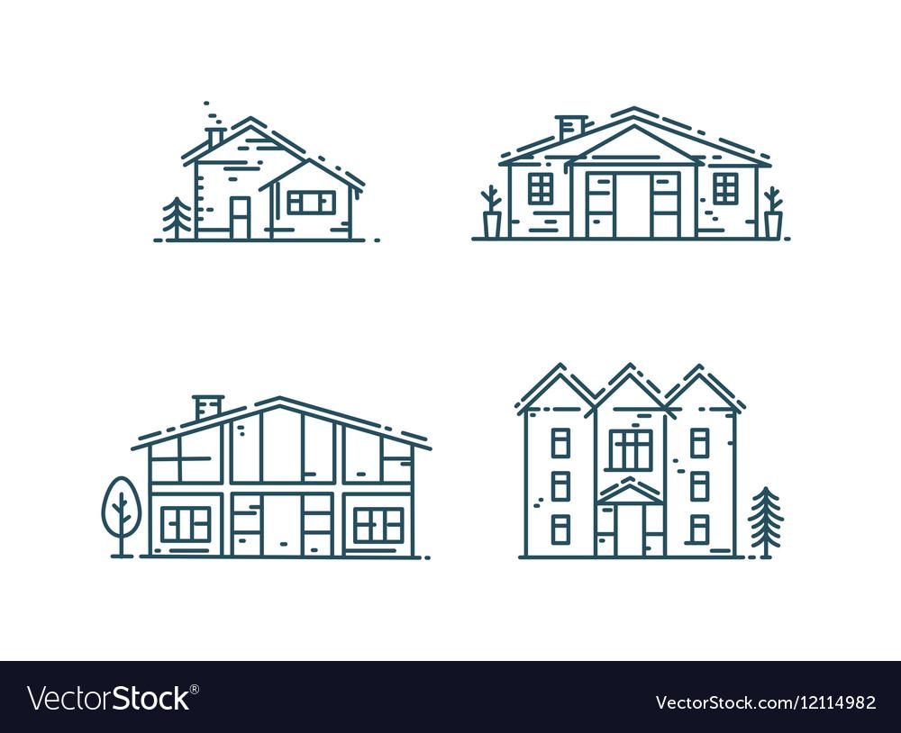 Line houses icon set