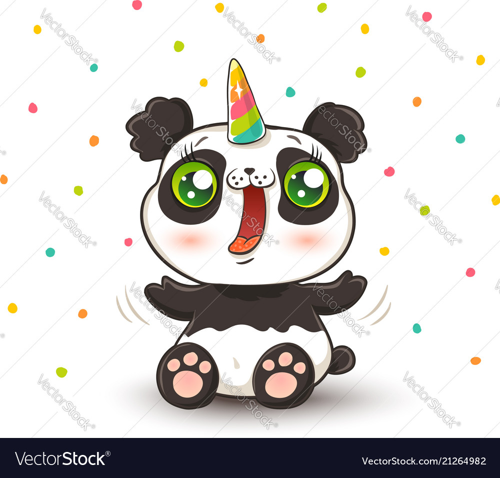 Panda with unicorn horn
