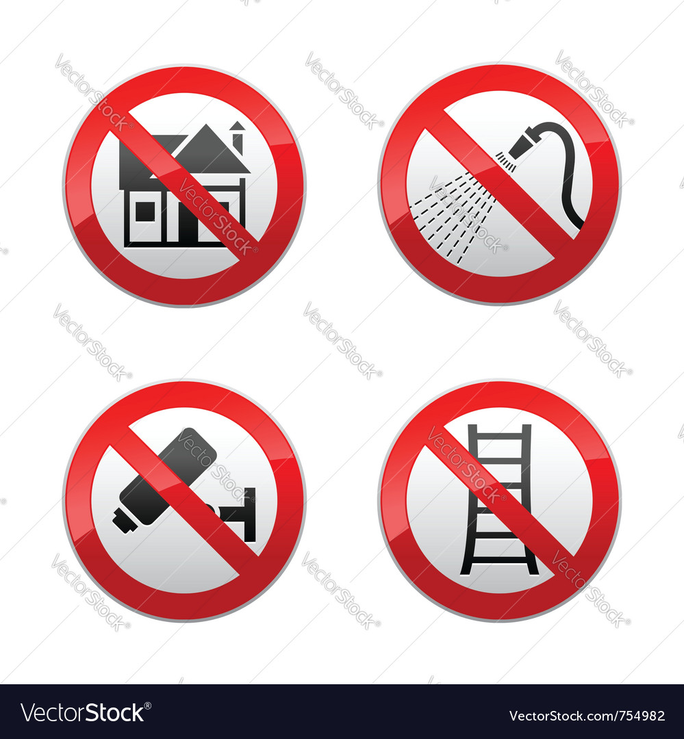 Set prohibited signs - home