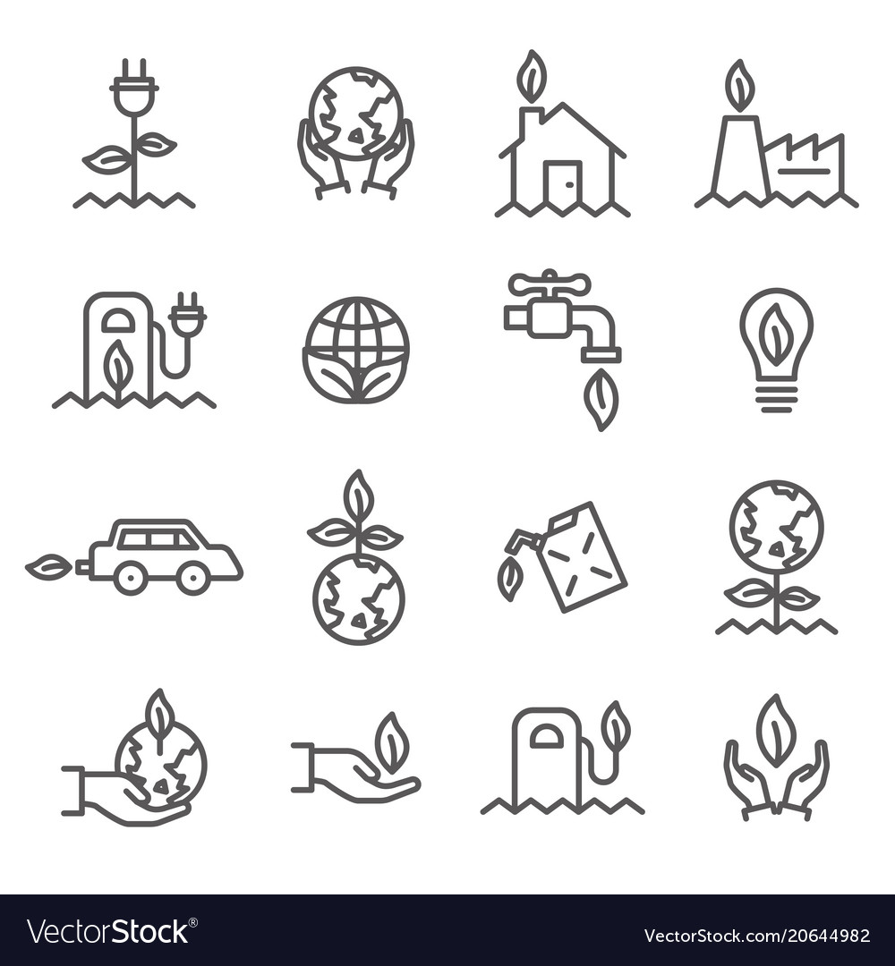 Simple set of ecology related outline icons