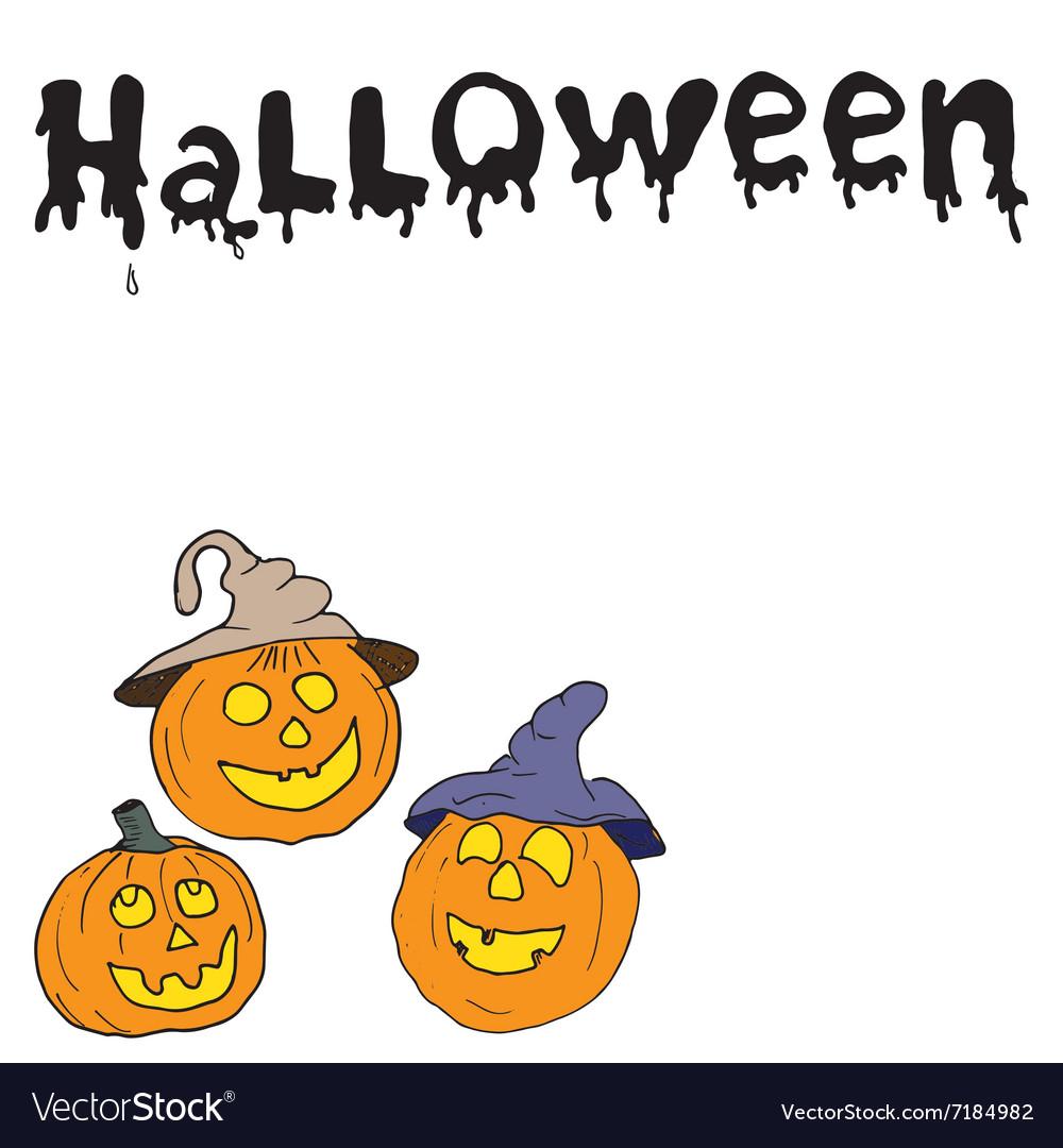 Sketch of halloween pumpkin Doodles set with