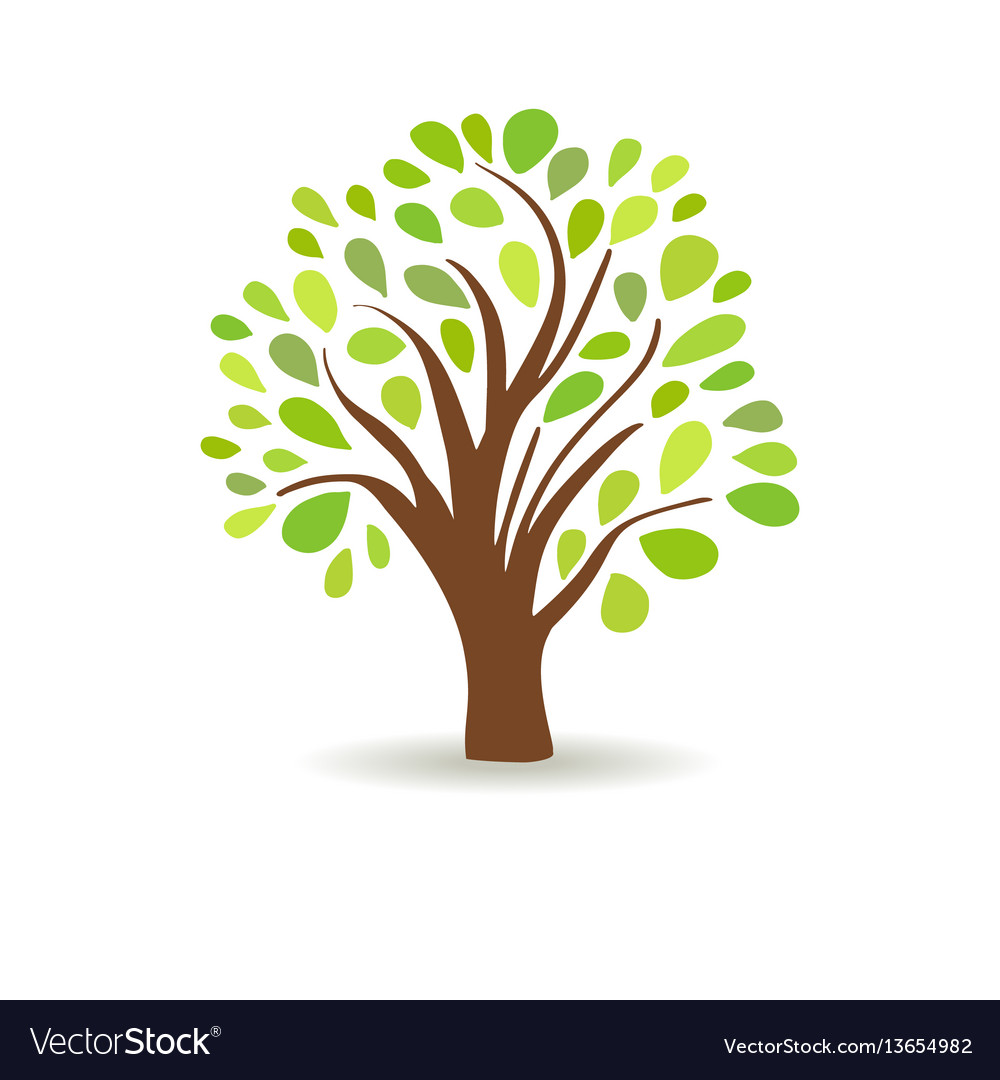 Spring tree in a white background abstract