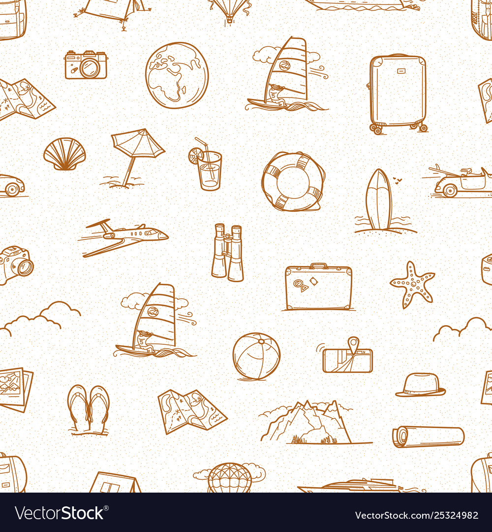 Summer travel doodle style elements seamless