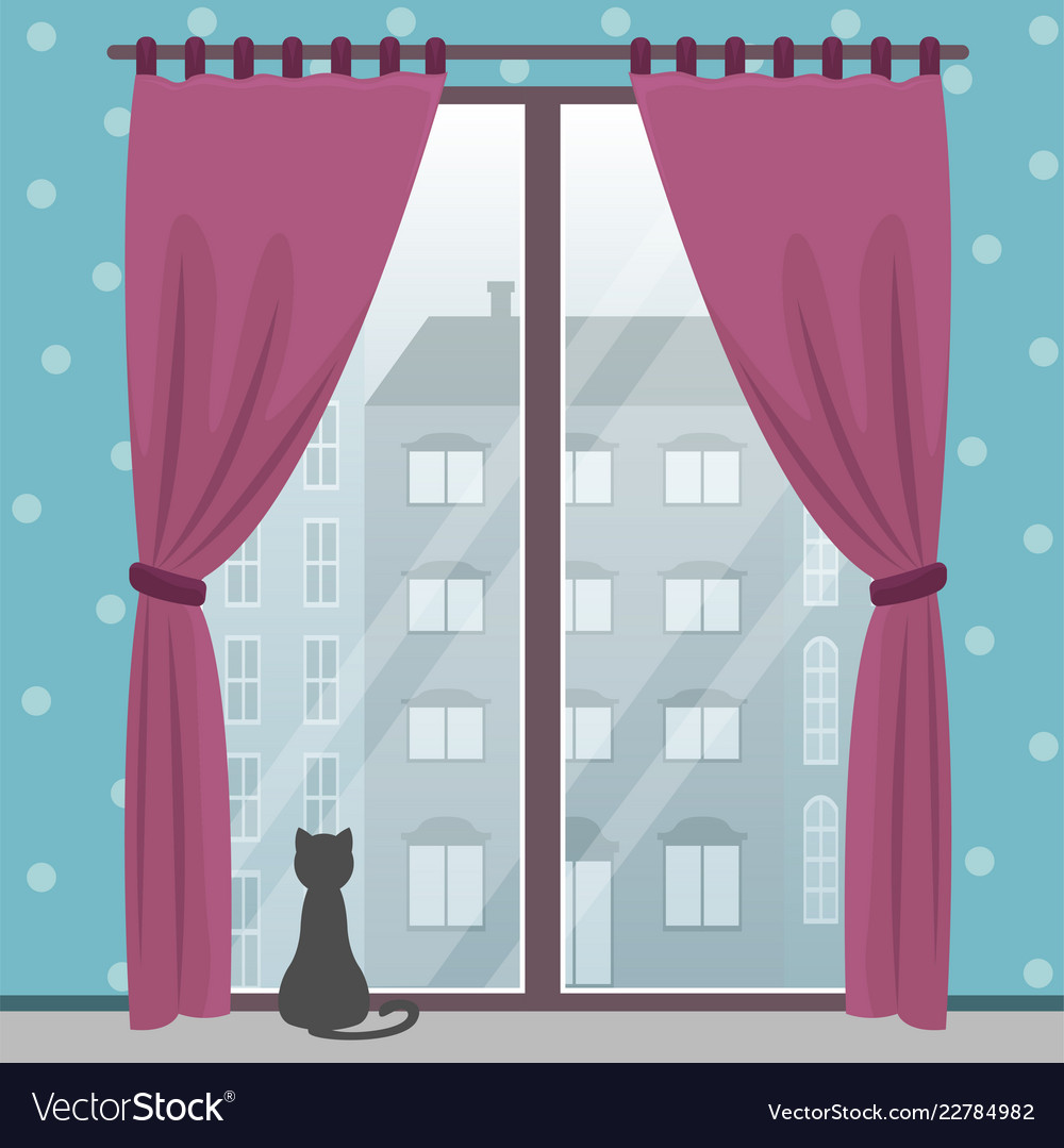 Window With City View In A Cozy Room With A Cat Vector Image