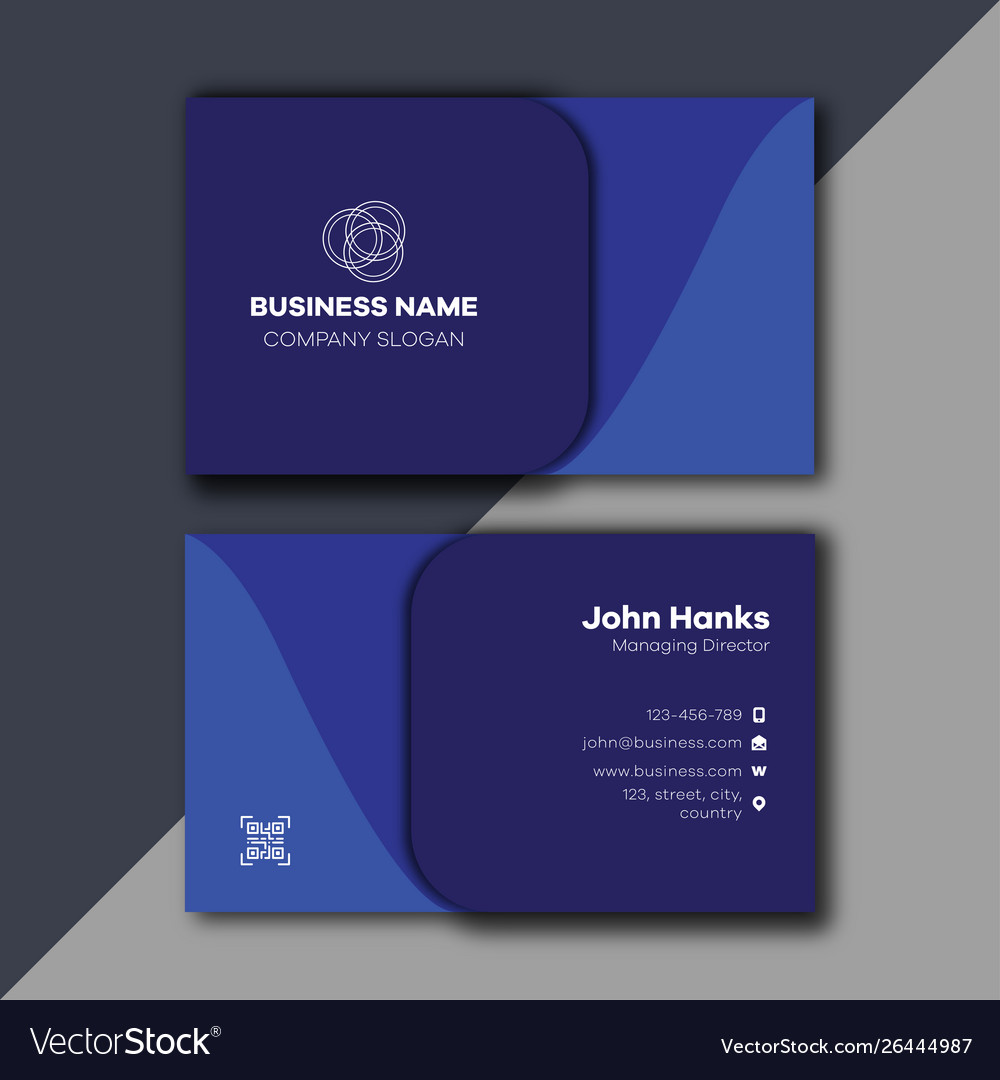 Blue Minimal And Professional Business Card Vector Image