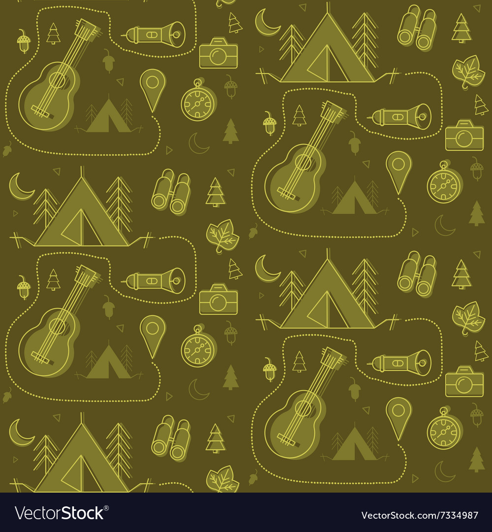 Camping Seamless Pattern in outline style